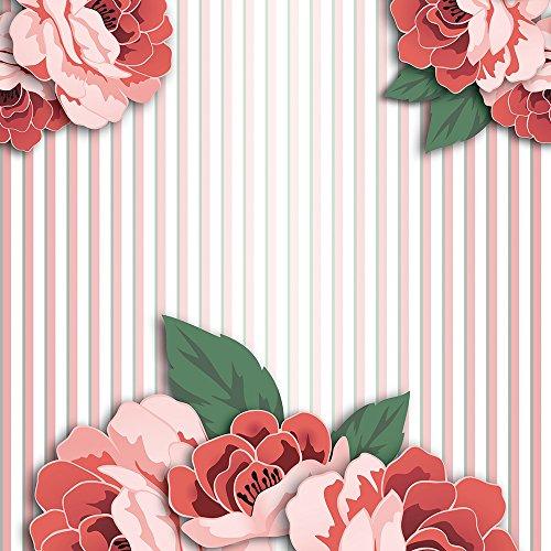 murando - Vlies Tapete - Deko Panel Fototapete - Wandtapete - Wand Deko - 10 m Tapetenrolle - Mustertapete - Wandtapete - modern design - Dekoration - Blumen Streifen o-A-0004-j-b