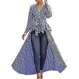Linkay T Shirt Damen Langarm BluseUnregelmäßiger Streifen Tops Krawatte Oberteile Mode 2019 (Blau, X-Large)