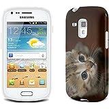 Chats 10042, Chaton Gris, Clair Etui Housse Coque de Protection en Cuir avec Stand, Fermeture Magnétique et Dessin Coloré pour Samsung Galaxy S3 Mini