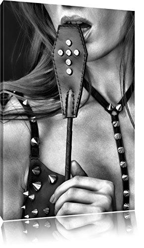 Pixxprint Sexy Woman mit Lederpeitsche / 60x40cm Leinwandbild bespannt auf Holzrahmen/Wandbild Kunstdruck Dekoration