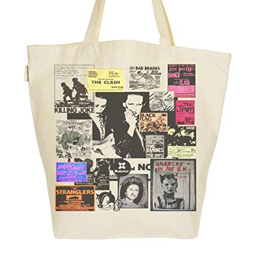 Grand Sac Cabas Fourre-tout Imprimé Toile Bio 37x45x20cm Tote Bag XL - Punk Rock Heritage