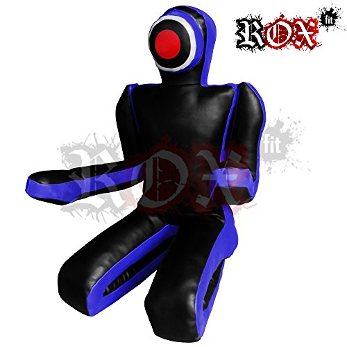 ROX Passform MMA Judo Boxsack Grappling Dummy–Sitzposition, Submission Stil, Double Face, MMA Dummy, Stanz BJJ Training Bag 5ft & 6ft Blau Schwarz (ungefüllt) schwarz Blau / Schwarz 6 Foot (1.8 meters) (Grappling Dummy)