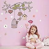 PROKTH Vinilos de pared infantiles Pegatinas decorativas pared Papel tapiz para pared Dormitorio Coche Cocina Pajarito Rama Niña 1PC