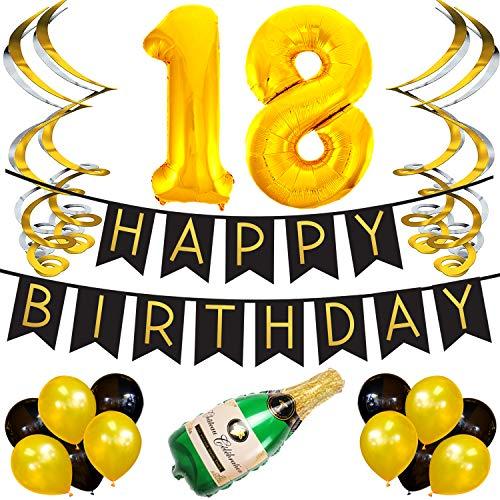 Sterling James Co. 18. Happy Birthday Girlande - Schwarz & Gold Deko Geburtstag, Luftballons, Pom Poms und Spiralgirlande Silber - Party Zubehör (Happy 18 Birthday)