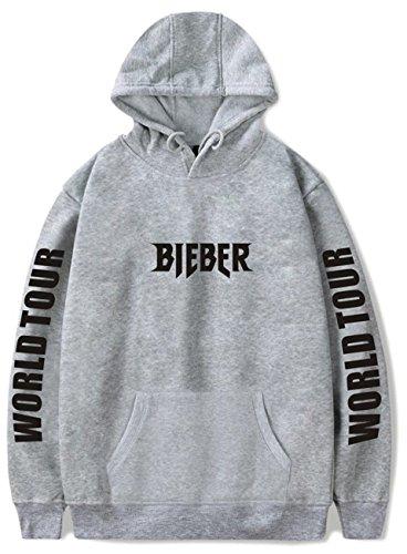 SERAPHY Unisex Pullover Justin Bieber Kapuzenpullover Purpose Tour Bieber World Tour Sweatschirt grau S