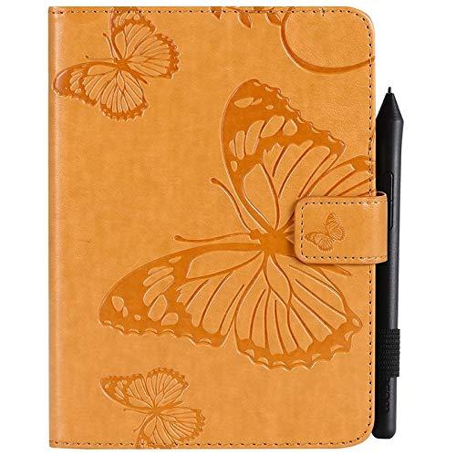 YUWEN Mode Retro Schmetterlings-Blumenmuster PU-Leder-Mappe Kratzfeste Schutzhülle für Amazon Kindle Paperwhite 4 (10. Generation-2018), mit Kartenhalter für Kartenhalter Abdeckungen (Farbe : Gelb) (Gelb Kindle Abdeckung)