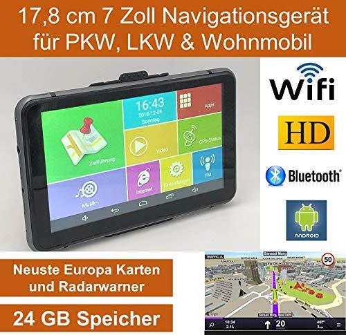 Elebest 17,8cm 7 Zoll Navigationsgerät,Betriebssystem Android 6.0,WiFi,Radarwarner,Tablet PC,Für Wohnmobil,LKW,PKW,mit 24GB Speicher,Bluetooth,Kostenlose Kartenupdate,GPS