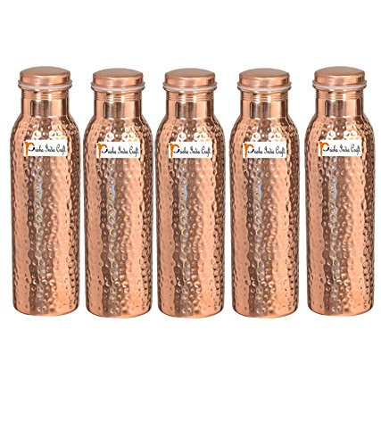 1000ml/33.81oz-Set von 5-Prisha Indien Craft-Kupfer gehämmert Wasser Flasche | Gemeinsame frei, beste Qualität Wasser Flasche-Handarbeit Weihnachten Geschenk
