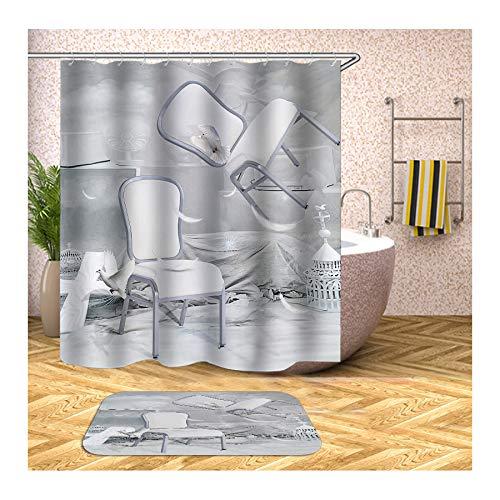 Beydodo Badematten Set 2 Teilig Antischimmel Duschvorhang 165x180, Stühle Weiß Tauben 40x60 cm Badematte WC Vorleger