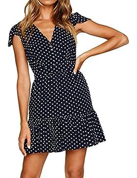 Kaiki Mini vestido de las mujeres del verano del punto impreso con cuello en V botón informal flojo