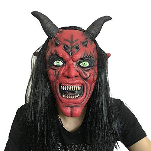 SCLMJ Halloween Lustige Maske Grau Lange Rote Gesicht Teufel Latex Maske
