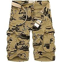 Hombres Pantalones Cortos Cargo Militares Camo Shorts De Multi-Bolsillo(Sin Cinturon)