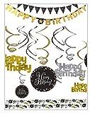 Libetui Geburtstag Deko Set Sparkling Gold Silber Happy Birthday Dekoration Wimpelkette Partykette Girlande Konfetti