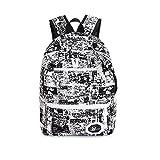FuweiEncore Netter wasserdichter Unisexrucksack für Schule, Schulbücher, Freizeit für Jungen und Mädchen, zufällige Farben-Graffiti-Tasche (Farbe : Schwarz, Größe : Einheitsgröße)