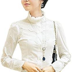 Nonbrand invierno oficina de manga larga de encaje Top para mujer Vintage blusa señoras Victoriano Tops blanco blanco 44