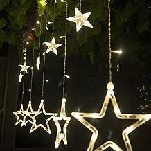 Cortina de luces LED, KINGCOO® Resistente al agua 8modos 138LEDs 12estrella de Navidad guirnalda de cortina de ventana guirnalda de luces para interior exterior Navidad/boda/fiesta decoración
