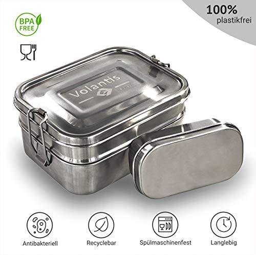 Volantis Brotdose aus matt gebürstetem Edelstahl 3-teilig mit Kleiner Zusatzbox - Umweltfreundliche Lunchbox für Kinder und Erwachsene - Brotbüchse - hochwertig & robuste Edelstahl-Brotbox (Für Aluminium-lunch-boxen Kinder)