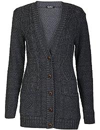 Fast Fashion - Cardigan Plus La Taille Câble Manches Longues Bouton Grandad Tricoté - Femmes