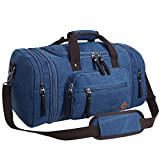 Fafada Reisetasche Herren Damen 40L Canvas Handgepäck Sporttasche Erweiterbare Großräumige Handtasche Schultertasche Blau