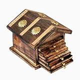 #5: Desi Karigar Wooden & Brass Antique Hut Shape Coaster Set Home Decor Gift Item