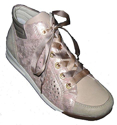 Ara 12-34409 Rom donna Sneaker larghezza G per solette sciolti lino/natur,rose/platin