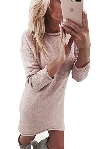 Yidarton Winter Damen Pullover Sweater Strickkleid Warm Elegant Langarm Strickpullover Lang