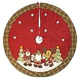 Trachtenland XL Weihnachtsbaum Decke Santa mit 3D-Figuren - Rot Grün - Durchmesser 120 cm