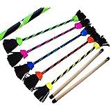FLASH Pro Flowerstick Set (5 kleuren) siliconen gecoat Flower & Handstok! Superieure kwaliteit, glasvezelstok, siliconen grip, wildlederfranjes, bevestigingsriem. Flames N Games Devilsticks voor beginners en professionals.