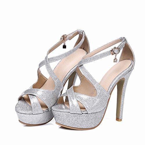 Mee Shoes Damen high heels Peep toe Plateau Schnalle Sandalen Silber