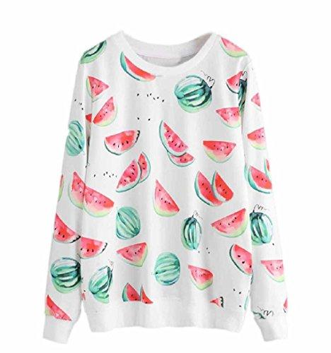 Damen Wassermelone lLangarmshirt Gedruckt Tops ❤️ZEZKT❤️ Basic Outwear Rundhals Baumwollbluse Tops T-shirt (S, Weiß) (Gedruckt Lace Top)