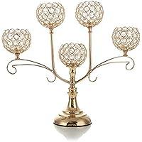 VINCIGANT Boda Mesa Cristal Candelabro con 5 Brazos Vela Soportes de Soporte para Decoración de Navidad