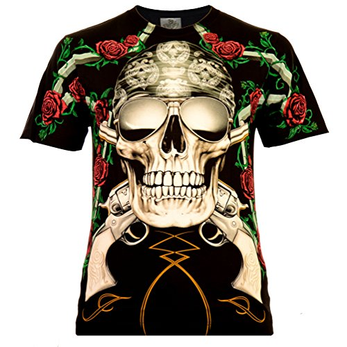 Two Guns and Roses Herren T-Shirt Schwarz Gr. M Komplett Bedruckt