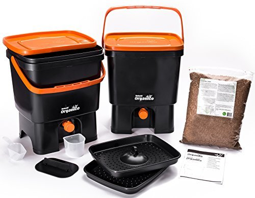 Skaza - mind your eco Bokashi Organico Composteur de Cuisine, Noir/Orange
