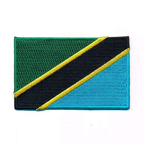 hegibaer 60 x 35 mm Tansania Afrika Flagge Dodoma Serengeti Aufnäher Aufbügler 1120 B - Patch Tansania