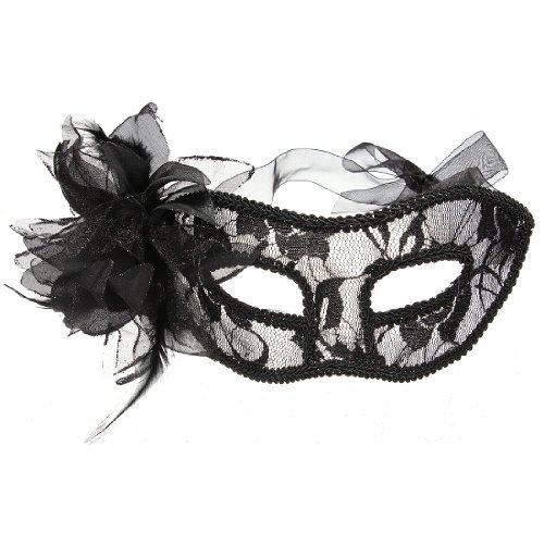 Weihnachten Geschenk für schwarz venezianischen Feder Spitze Blumen Augenmaske Masquerade Ball Kostüm Party Fancy (Augenmaske Feder Kostüme)