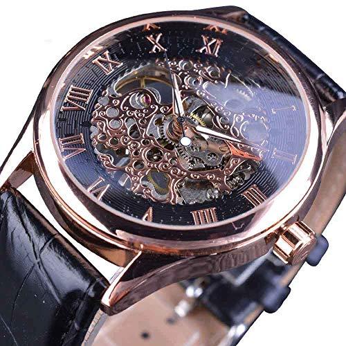 Liandd Retro klassisches Design römische Zahl Display transparentes Gehäuse mechanische Skelett Uhr Herrenuhr Top-Marke, Golden (Fossil Skelett-uhr Damen)