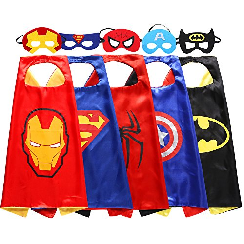 zaleny Kids Superhero Dress Up Disfraces Máscaras de fieltro de 5Capes satinado con 5