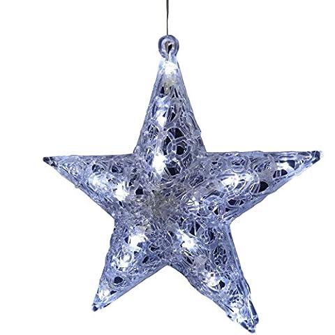20 LED Acrylstern Leuchtstern Weihnachtsstern Stern mit Belechtung Acrylfigur beleuchtetes Fensterbild Adventsstern Weihnachtsbeleuchtung Weihnachtsdekoration Fensterdekoration Fensterstern Aussen +