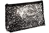 Trousse da viaggio trasparente per trucchi con stampa a fiori neri, Trasparente. (Trasparente) - A04593ZDA