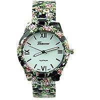 ساعة عصرية كاجوال كوارتز مزينة بطباعة ازهار للنساء من جينيفا