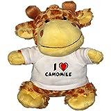 Jirafa de peluche (juguete) con Amo Camomile en la camiseta (nombre de pila/apellido/apodo)