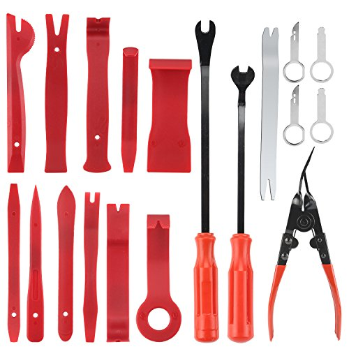 Aibesser 19 Stücke Auto Werkzeuge, Demontage & Montage Werkzeuge, Auto Demontage Werkzeuge, Zierleistenkeile Set Türverkleidungs Lösewerkzeug Universal Auto Trim Werkzeuge, Reparatur-Tools für Auto Panel Auto Tür Dash Panel (Rot)
