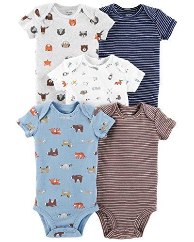 Carter's Baby Boys 5 Pack Bodysuit Set, Animals, Newborn (Carters Baby Boy Newborn-sets)