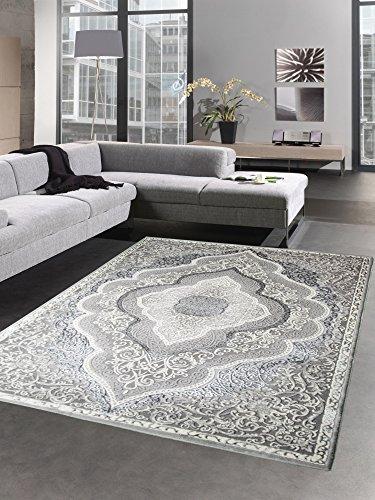 Carpetia Moderner Teppich Kurzflor Wohnzimmerteppich Orient Grau Creme Silber Größe 160x230 cm Orient-creme