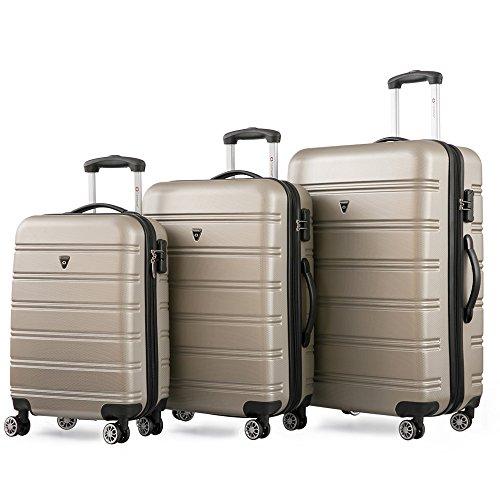 Reisekofferset Hartschalen Kofferset Zwillingsrollen Reisekoffer Set 3tlg. Trolleys mit Zahlenschloss, Gepäck mit 4 Doppel-Rollen, Set-XL-L-M (Champagner)