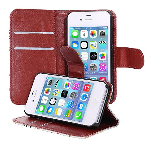 ECENCE 21030101 Apple iPhone 4 4S handy tasche flip case klapp schutz hülle cover schwarz inklusive Displayschutzfolie Retro Haus + Fahrrad