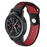 Qingz 22 mm Uhrenarmbänder für Samsung Galaxy Watch 46 mm/Gear S3 Classic Strap Frontier Entfernen von Gliedern Edelstahl Smart Armband Strap Ersatz, Silicone Black/red