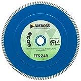 Amboss FFS 24R - Diamant-Trennscheibe Ø 230 mm x 22,2 mm - extra hartes Feinsteinzeug (2-3 cm), Granit & Keramik | Trockenschnitt | Segmenthöhe 7 mm (gesintert)