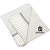 Pebsty® Cool Soft White Green Check Single Bed Cotton AC Blanket / Summer Blanket- 1PC