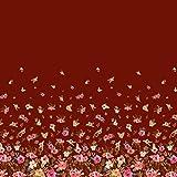 Soimoi Rot Satin Seide Stoff Blätter und Blumen Platte